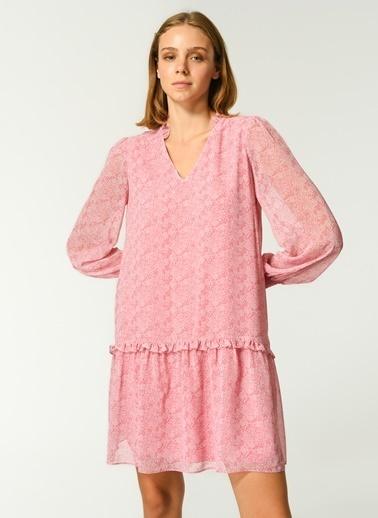 NGSTYLE Kadın Fırfır Detaylı Desenli Elbise NGKSS21EL0016 Gül Kurusu